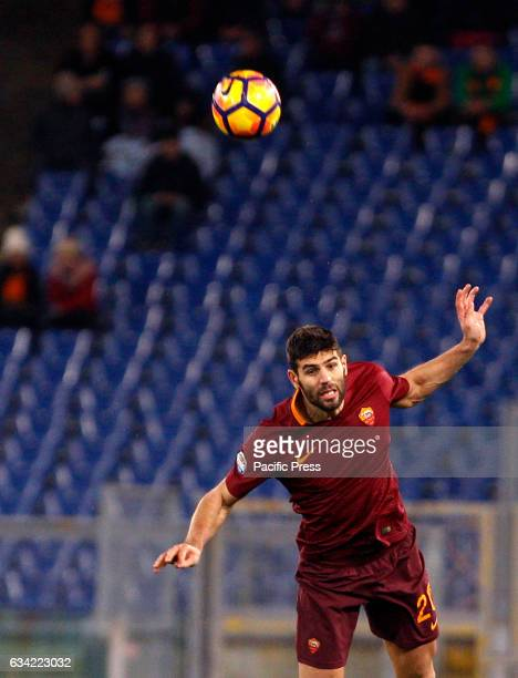 Roma Federico Fazio heads the ball during the Italian Serie A soccer match between Roma and Fiorentina at the Olympic stadium Roma beats Fiorentina 40