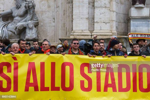 Roma football club fans hold a rally in Campidoglio Square to protest against city officials over long delayed plans for a new stadium in Rome Italy...