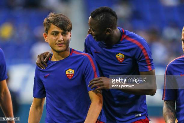 Roma forward Cengiz Under and teammate Roma forward Sadiq Umar during warms up prior to the International Champions Cup soccer game between Tottenham...