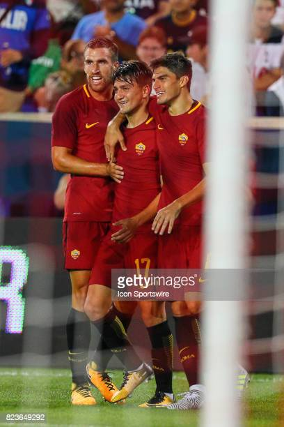 Roma forward Cengiz Under celebrates with teammates during the second half of the International Champions Cup soccer game between Tottenham Hotspur...