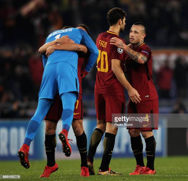 Roma goalkeeper Alisson Becker with his teammates celebrate the victory after the UEFA Champions League group C match between AS Roma and Qarabag FK...