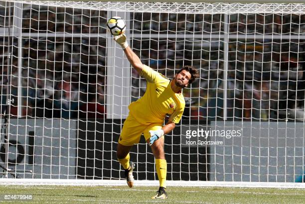 Roma goalkeeper Alisson distributes the ball during an International Champions Cup match between AS Roma and Juventus on July 30 at Gillette Stadium...