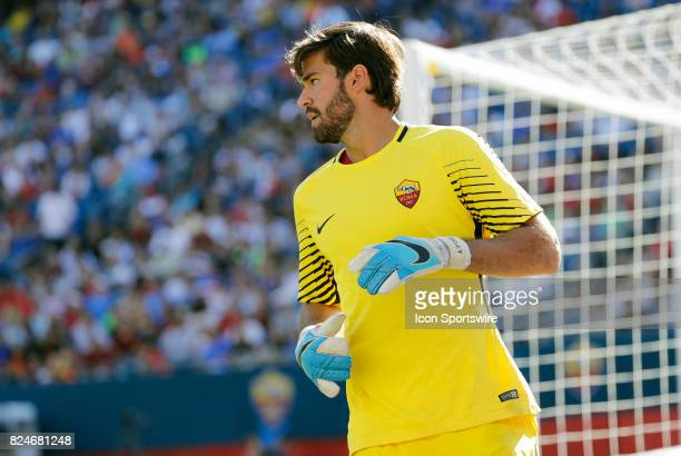 Roma goalkeeper Alisson during an International Champions Cup match between AS Roma and Juventus on July 30 at Gillette Stadium in Foxborough...