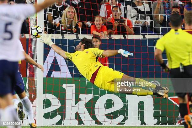 Roma goalkeeper Alisson during the second half of the International Champions Cup soccer game between Tottenham Hotspur and Roma on July 25 at Red...