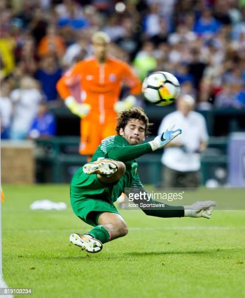Roma goalkeeper Alisson fails to block the gamewinning penalty kick during an International Champions Cup match between AS Roma and Paris...