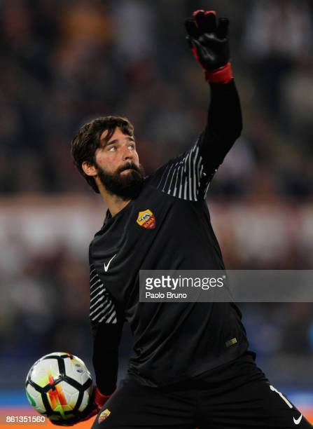 Roma goalkeeper Alisson in action during the Serie A match between AS Roma and SSC Napoli at Stadio Olimpico on October 14 2017 in Rome Italy