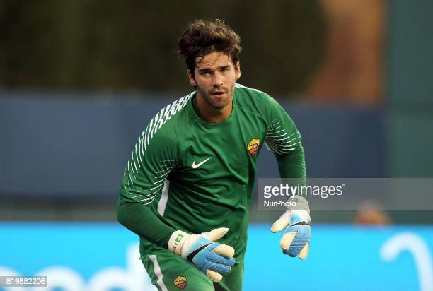 Roma goalkeeper Alisson looks on during an International Champions Cup match between AS Roma and Paris SaintGermain FC at Comerica Park in Detroit...