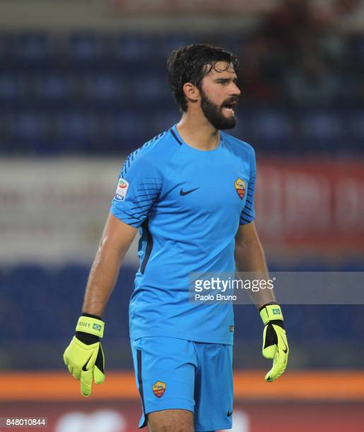 Roma goalkeeper Alisson looks on during the Serie A match between AS Roma and Hellas Verona FC at Stadio Olimpico on September 16 2017 in Rome Italy