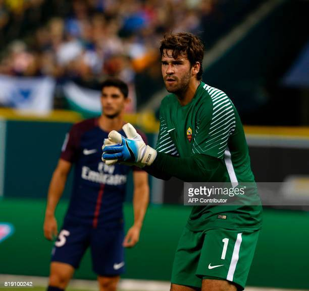 AS Roma goalkeeper Alisson reacts duirng an International Champions Cup match between AS Roma and Paris Saint Germain on July 19 2017 at Comerica...