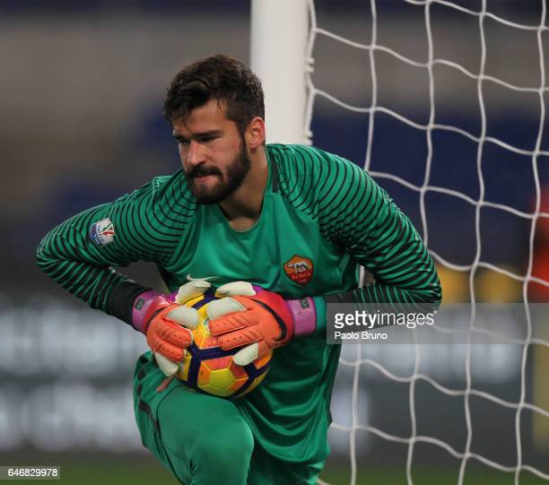 Roma goalkeeper Becker Allison in action during the TIM Cup match between SS Lazio and AS Roma at Olimpico Stadium on March 1 2017 in Rome Italy