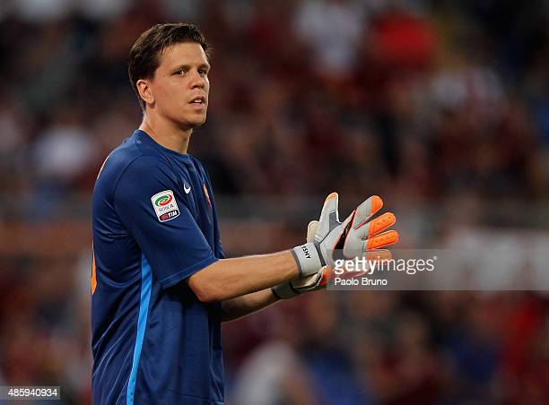 Roma goalkeeper Wojciech Szczesny looks on during the Serie A match between AS Roma and Juventus FC at Stadio Olimpico on August 30 2015 in Rome Italy