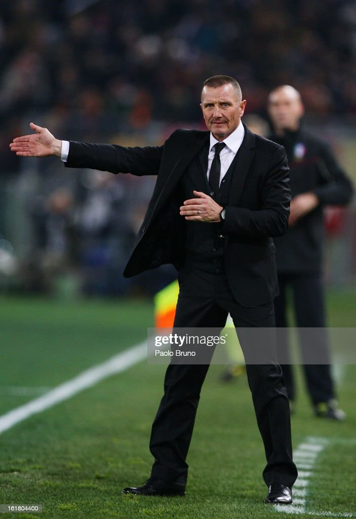 AS Roma head coach Aurelio Andreazzoli gestures during the Serie A match between AS Roma and Juventus FC at Stadio Olimpico on February 16, 2013 in Rome, Italy.