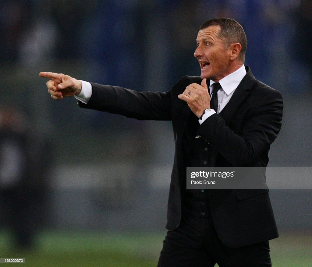 AS Roma head coach Aurelio Andreazzoli gestures during the Serie A match between AS Roma and Genoa CFC at Stadio Olimpico on March 3, 2013 in Rome, Italy.