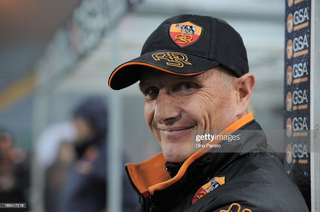AS Roma head coach Aurelio Andreazzoli looks on during the Serie A match between Udinese Calcio and AS Roma at Stadio Friuli on March 9, 2013 in Udine, Italy.