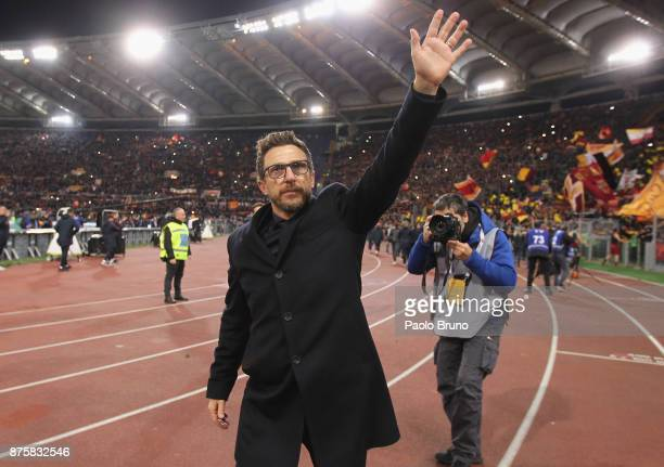 Roma head coach Eusebio Di Francesco celebrates the victory after the Serie A match between AS Roma and SS Lazio at Stadio Olimpico on November 18...