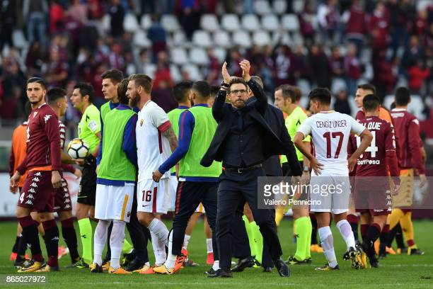 Roma head coach Eusebio Di Francesco celebrates victory at the end of the Serie A match between Torino FC and AS Roma at Stadio Olimpico di Torino on...
