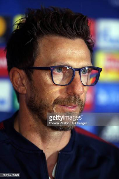Roma head coach Eusebio Di Francesco during a press conference at Stamford Bridge London