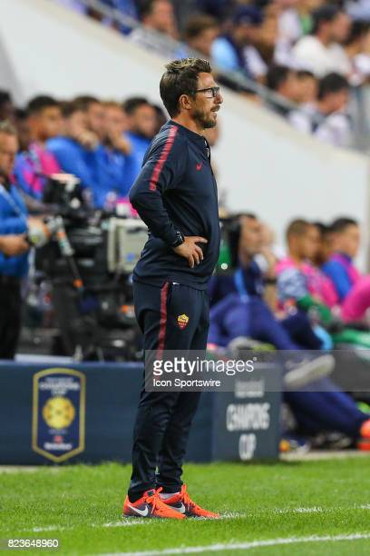 Roma head coach Eusebio Di Francesco during the International Champions Cup soccer game between Tottenham Hotspur and Roma on July 25 at Red Bull...