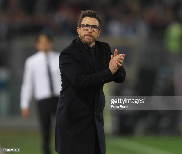 Roma head coach Eusebio Di Francesco gestures during the Serie A match between AS Roma and SS Lazio at Stadio Olimpico on November 18 2017 in Rome...