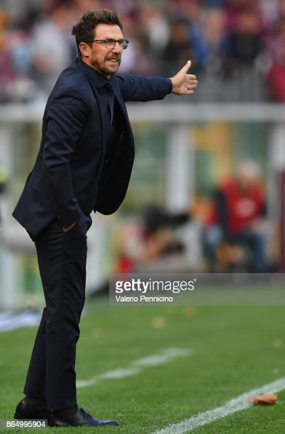 Roma head coach Eusebio Di Francesco reacts during the Serie A match between Torino FC and AS Roma at Stadio Olimpico di Torino on October 22 2017 in...