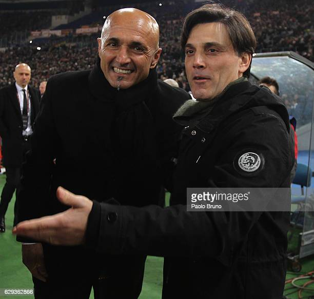 Roma head coach Luciano Spalletti and AC Milan head coach Vincenzo Montella react during the Serie A match between AS Roma and AC Milan at Stadio...