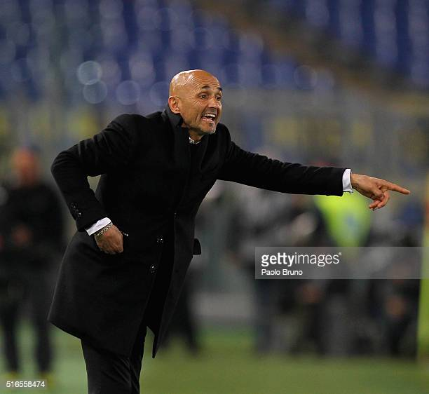 Roma head coach Luciano Spalletti gestures during the Serie A match between AS Roma and FC Internazionale Milano at Stadio Olimpico on March 19 2016...