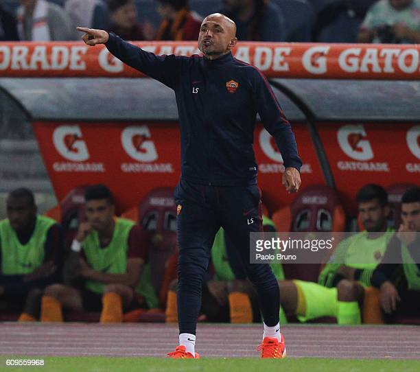 Roma head coach Luciano Spalletti gestures during the Serie A match between AS Roma and FC Crotone at Stadio Olimpico on September 21 2016 in Rome...