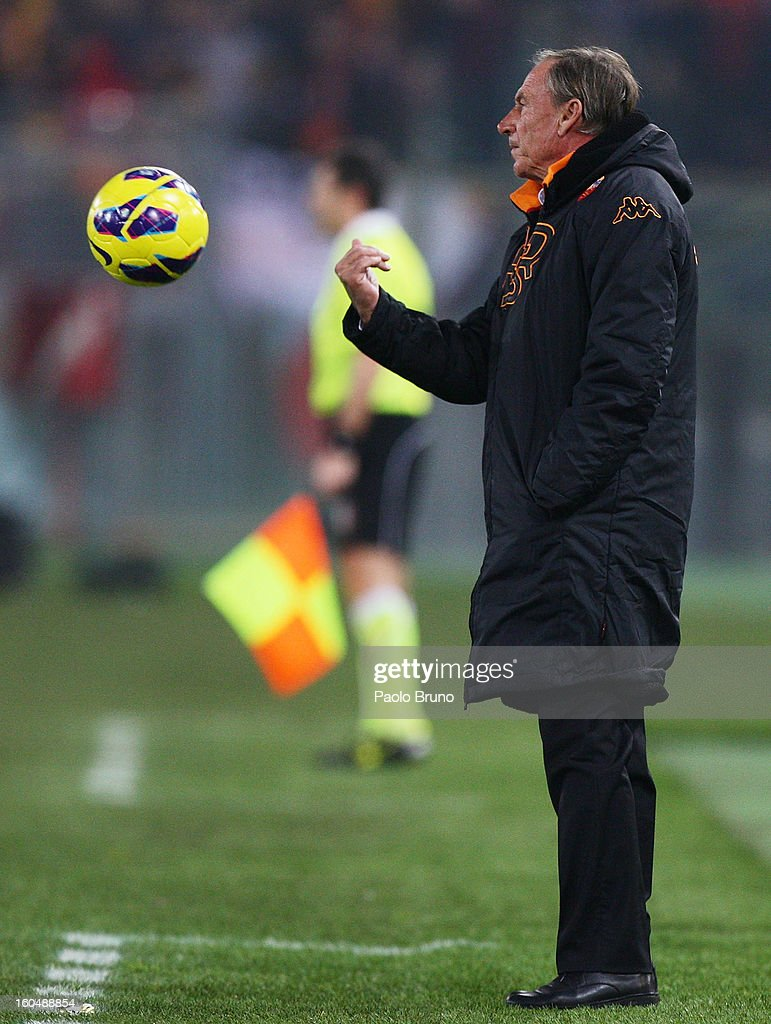 AS Roma head coach <a gi-track='captionPersonalityLinkClicked' href=/galleries/search?phrase=Zdenek+Zeman&family=editorial&specificpeople=628975 ng-click='$event.stopPropagation()'>Zdenek Zeman</a> gestures as the ball approaches during the Serie A match between AS Roma and Cagliari Calcio at Stadio Olimpico on February 1, 2013 in Rome, Italy.