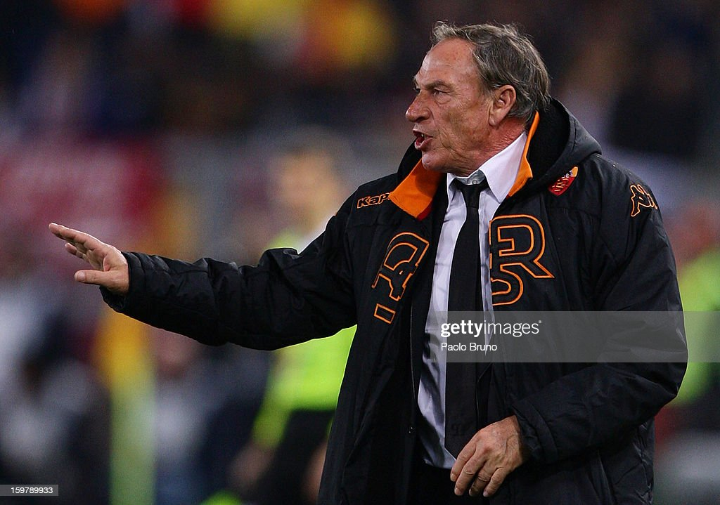 AS Roma head coach <a gi-track='captionPersonalityLinkClicked' href=/galleries/search?phrase=Zdenek+Zeman&family=editorial&specificpeople=628975 ng-click='$event.stopPropagation()'>Zdenek Zeman</a> gestures during the Serie A match between AS Roma and FC Internazionale Milano at Stadio Olimpico on January 20, 2013 in Rome, Italy.