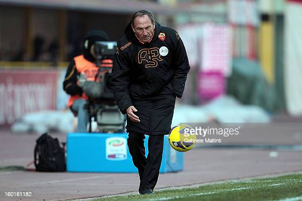 Roma head coach Zdenek Zeman goes to catch a ball during the Serie A match between Bologna FC and AS Roma at Stadio Renato Dall'Ara on January 27...