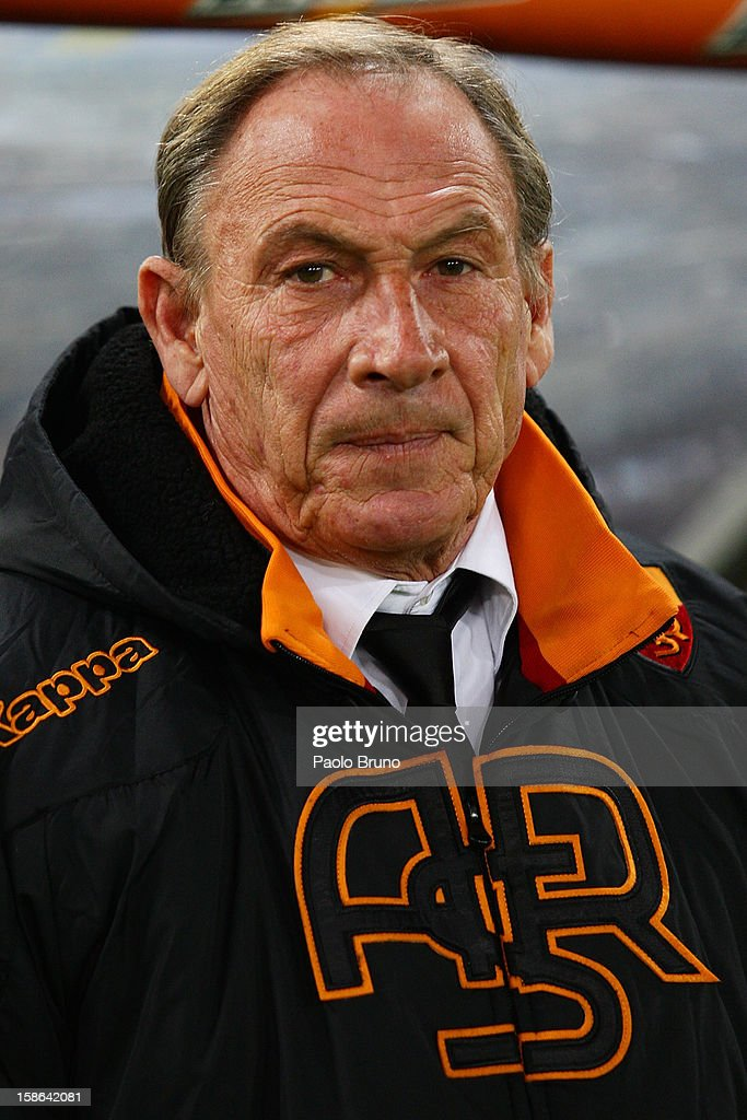AS Roma head coach Zdenek Zeman looks on during the Serie A match between AS Roma and AC Milan at Stadio Olimpico on December 22, 2012 in Rome, Italy.