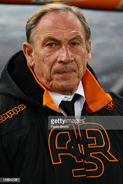 Roma head coach Zdenek Zeman looks on during the Serie A match between AS Roma and AC Milan at Stadio Olimpico on December 22 2012 in Rome Italy