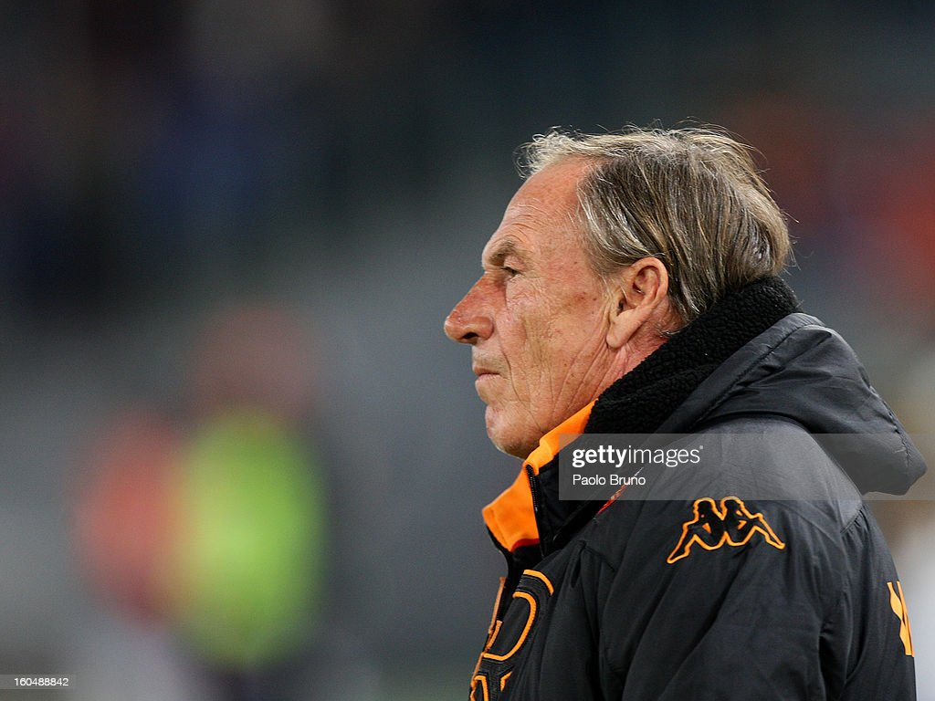 AS Roma head coach <a gi-track='captionPersonalityLinkClicked' href=/galleries/search?phrase=Zdenek+Zeman&family=editorial&specificpeople=628975 ng-click='$event.stopPropagation()'>Zdenek Zeman</a> looks on during the Serie A match between AS Roma and Cagliari Calcio at Stadio Olimpico on February 1, 2013 in Rome, Italy.