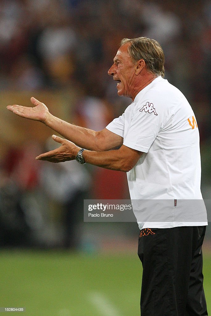 AS Roma head coach <a gi-track='captionPersonalityLinkClicked' href=/galleries/search?phrase=Zdenek+Zeman&family=editorial&specificpeople=628975 ng-click='$event.stopPropagation()'>Zdenek Zeman</a> reacts during the Serie A match between AS Roma and UC Sampdoria at Stadio Olimpico on September 26, 2012 in Rome, Italy.