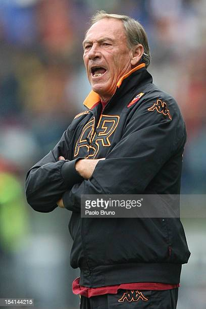 Roma head coach Zdenek Zeman shouts during the Serie A match between AS Roma and Atalanta BC at Stadio Olimpico on October 7 2012 in Rome Italy