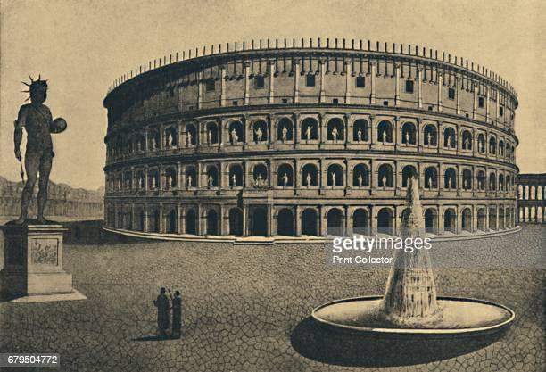 Roma Imaginary reconstruction of the Colosseum' 1910 Colosseum of the Meta Sudans with Colossal bronze Statue of Nero From Cento Vedute Classiche di...