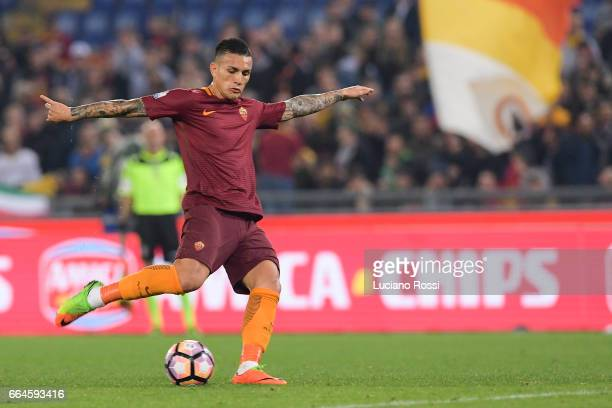 Roma Leandro Paredes in action during the TIM Cup match between AS Roma and SS Lazio at Stadio Olimpico on April 4 2017 in Rome Italy
