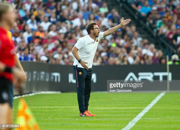 Roma manager Eusebio Di Francesco gestures at the pitch from the sidelines during an International Champions Cup match between AS Roma and Paris...