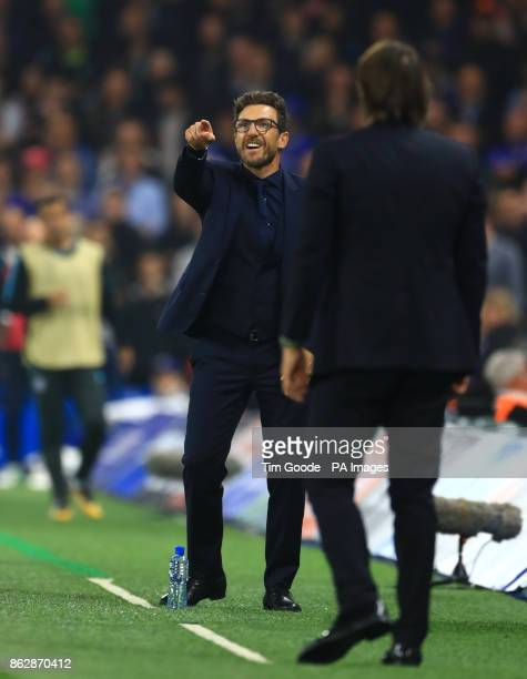 Roma manager Eusebio Di Francesco gestures on the touchline during the UEFA Champions League Group C match at Stamford Bridge London