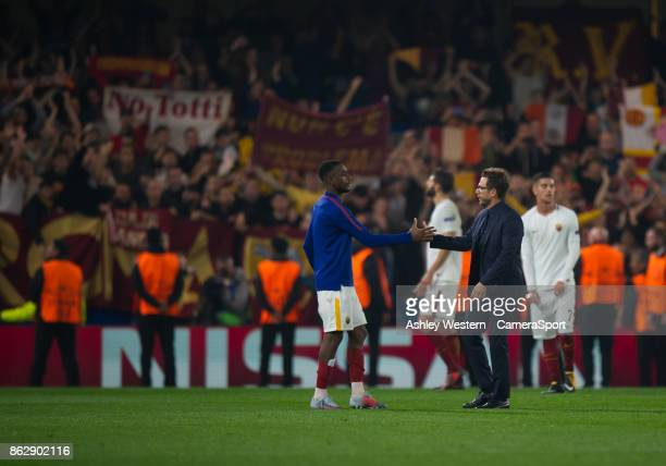 Roma manager Eusebio Di Francesco shakes Gerson's hand after the UEFA Champions League group C match between Chelsea FC and AS Roma at Stamford...