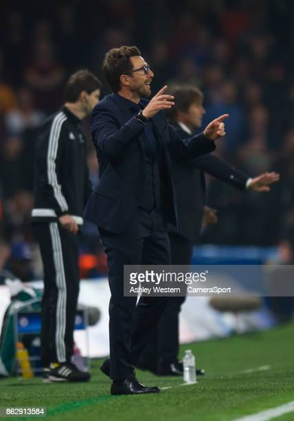 Roma manager Eusebio Di Francesco shouts instructions to his team from the technical area during the UEFA Champions League group C match between...