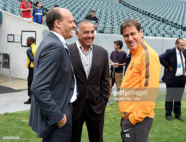 DG AS Roma Mauro Baldissoni President AS Roma James Pallotta and coach AS Roma Rudi Garcia share a joke prior to the International Champions Cup 2014...