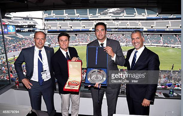 DG AS Roma Mauro Baldissoni Vice President FC Inter Milan Javier Zanett CEO AS Roma Italo Zanzii and CEO FC Inter Milan Michael Bolingbroke prior to...