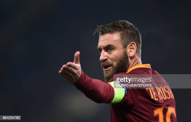 Roma midfielder from Italy Daniele De Rossi gestures during the Europa League Round of 16 return football match Roma vs Lyon at the Olympic Stadium...