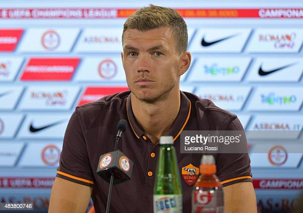Roma new signing Edin Dzeko attends a press conference on August 13 2015 in Rome Italy