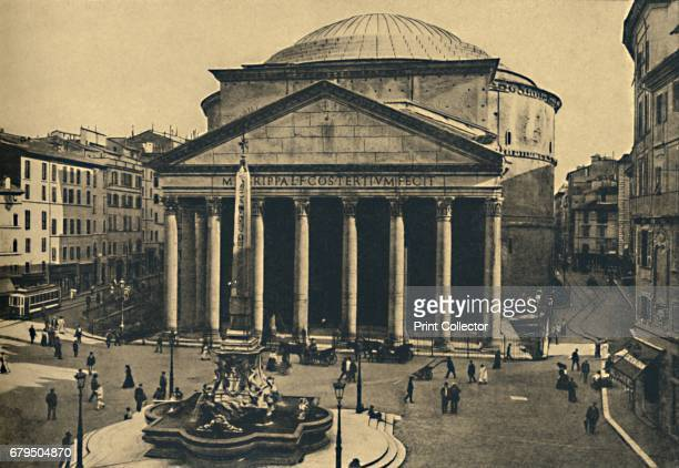 Roma Pantheon of Agrippa and Fountain of the Rotonda' 1910 The Pantheon is a former Roman temple now a church in Rome Italy on the site of an earlier...