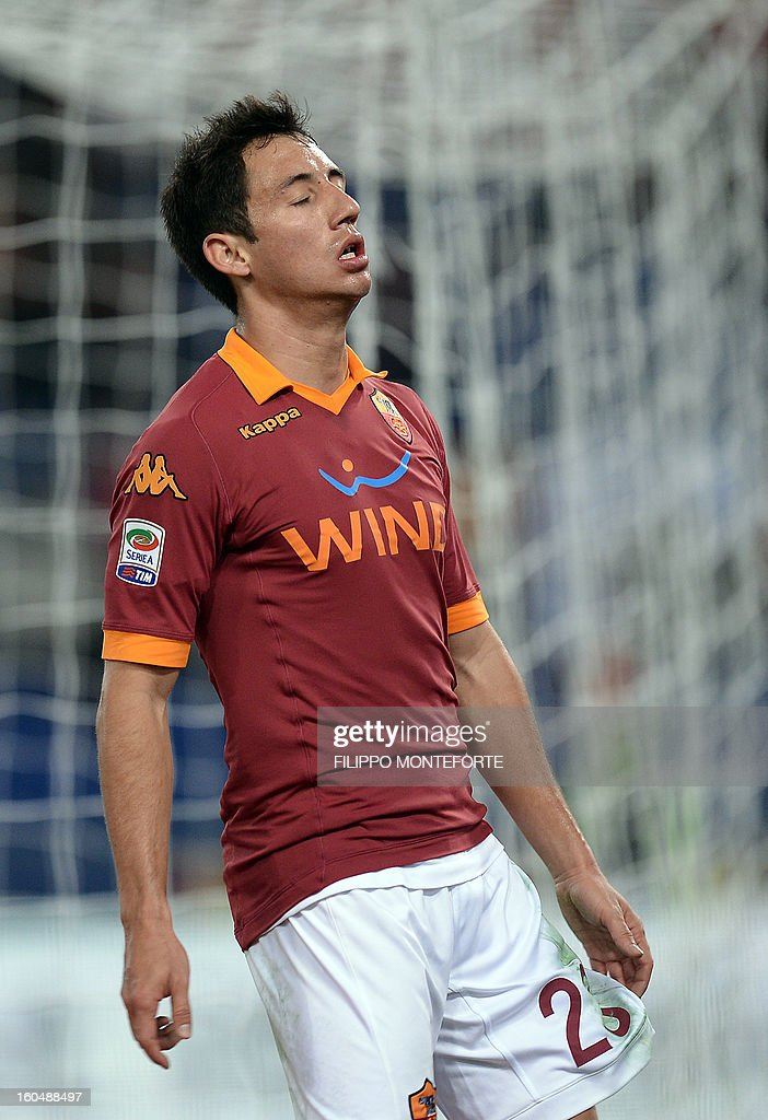 AS Roma Paraguayan defender Ivàn Rodrigo Piris reacts against Cagliari during the Serie A football match AS Roma vs Cagliari in Rome's Olympic Stadium on Febuary 1, 2013.
