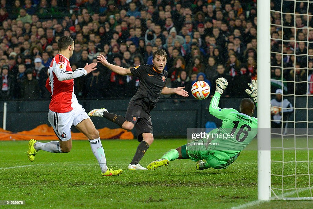 Roma player Adem Ljajic scores a goal during the UEFA Europa League Round of 32 match between Feyenoord and AS Roma at De Kuip on February 26 2015 in...