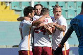 Roma player celebrate during the Serie A match between US Citta di Palermo and AS Roma at Stadio Renzo Barbera on October 4 2015 in Palermo Italy