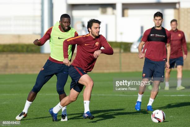 Roma player Clement Grenier during training session at Centro Sportivo Fulvio Bernardini on March 15 2017 in Rome Italy